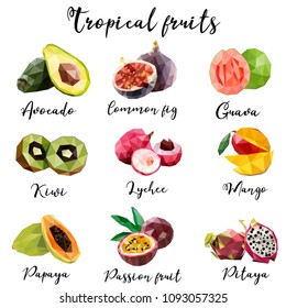 Set of tropical fruits in low poly style. Collection of exotic fruits: avocado, fig, guava, kiwi, lychee, mango, papaya, passion fruit, pitaya. Ingredients. Food.