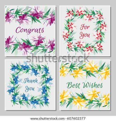 Set tropical greeting cards beautiful exotic stock vector royalty set of tropical greeting cards with beautiful exotic flowers twisted into frames bright multicolored flower m4hsunfo