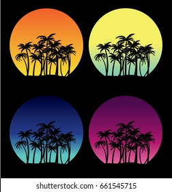 Set of tropical island at different day time vector nature illustration, circle frame icons