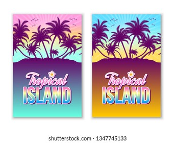 Set of tropical island illustrations with palm trees and sunset or sunrise in the background.