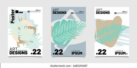 set of tropical leaf with pastel color Banner design. colorful illustration for background, cover template in vector eps10
