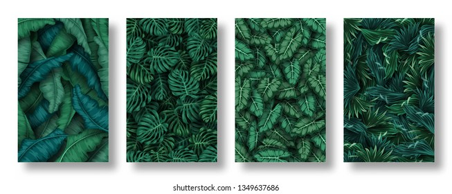 Set of tropical leaves background
