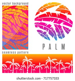 Set of tropical pink palm trees background. Vector illustration.
