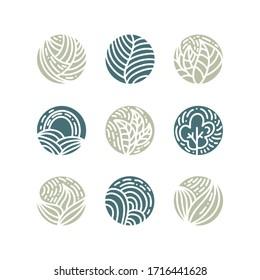 Set von tropischen grünen Blättern Logo. Rundbio-Emblem in kreislinearem Stil. Abstrakte Vektorillustration-Abstract-Abstract für Design von Naturprodukten, Blumenladen, Kosmetik, Umweltkonzepte, Gesundheit, Spa-Yoga
