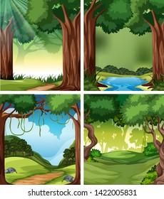 Set of tropical rainforest background illustration