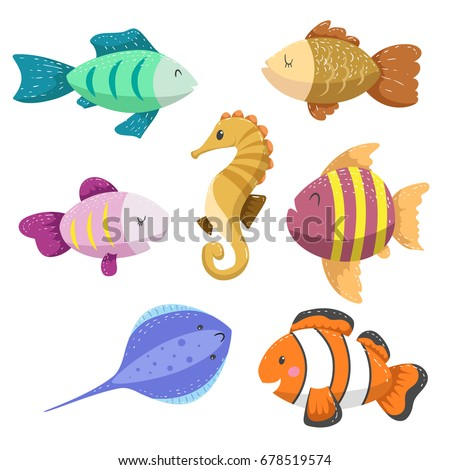 set tropical sea ocean animals seahorse stock vector royalty free