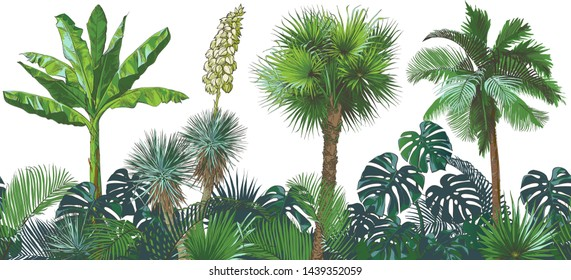 A set of Tropical seamless pattern bananas palm trees, monstera, yucca, leaf, fruits foliage collection. Vector watercolor realistic illustration. Vintage design