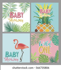 Set of tropical summer card for baby shower or birthday. Vector illustration