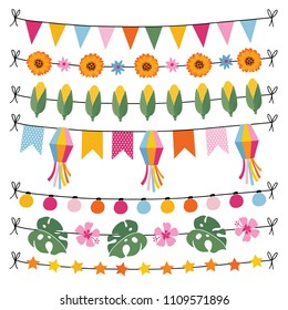 Set of tropical summer garlands. String of lights, bunting flags, corn, monstera leaves and hibiscus flowers. Garden party or  Brazilian June party, Festa Junina, decorations. Isolated vector borders.