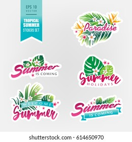 Set of tropical summer stickers. Vector illustration. Collection of exotic summer stickers.