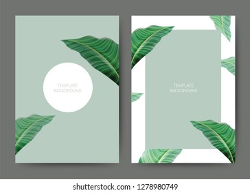 Set of tropical template Background. For Invitation, menu, sale, thank you, banner, Decoration with leaf & floral flower summer tropical watercolor style. Vector illustration.
