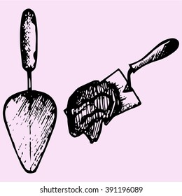 set trowel, cement mortar doodle style sketch illustration hand drawn vector
