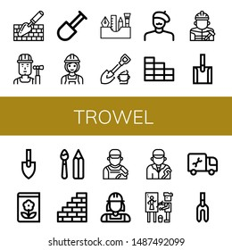 Set of trowel icons such as Trowel, Builder, Shovel, Painting tools, Painter, Brick wall, Gardening, Paint tools, Wall, Plumber, Weeder , trowel