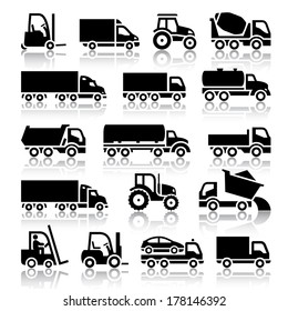 Set of truck black icons. Vector illustrations, silhouettes isolated on white background