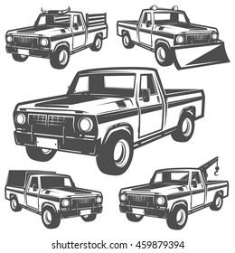 Set of truck and pickup for emlems and logo.