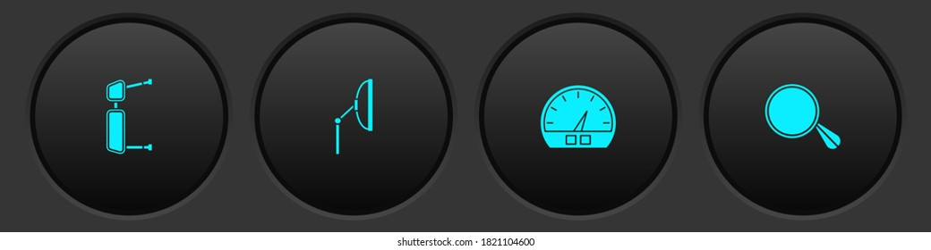 Set Truck side mirror, Windscreen wiper, Speedometer and Car icon. Vector.