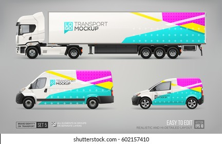 Set of Truck Trailer, Delivery Van, Freight Car - vector Mock Up template. Blue and Pink abstract graphic elements for Car Branding Corporate identity. Realistic mockup