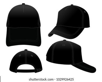 Set Trucker Black Baseball Cap for Vector