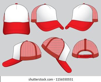 Set Trucker Net Baseball Cap (White/Red)