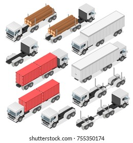 Set of trucks in an isometric view. Container for transportation. A white Car with a trailer. Delivery of cargo. Vector illustration.
