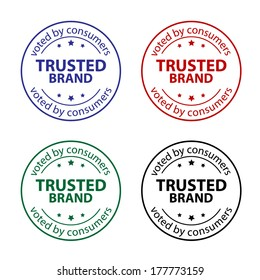 Set of trusted brand sign.