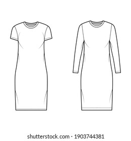 Set of T-shirt dresses technical fashion illustration with crew neck, long and short sleeves, knee length, oversized. Flat apparel template front, white color. Women, men, unisex CAD mockup