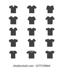 Set of T-shirt icon vector. Linear style sign for mobile concept and web design. T-shirt symbol illustration.