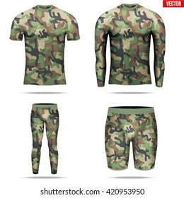 Set of t-shirt with long sleeve and Shorts and pants of thermal fabric in woodland camouflage style. Sample typical technical illustration. Vector Illustration isolated on white background