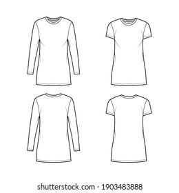 Set of T-shirt mini dresses technical fashion illustration with crew neck, long and short sleeves, oversized, Pencil fullness. Flat apparel template front, back, white color. Women, men CAD mockup