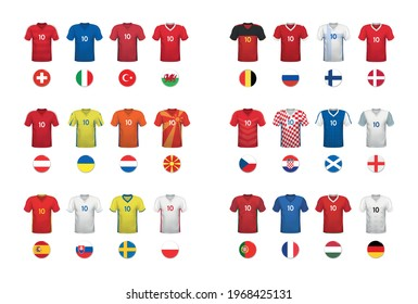 Set of t-shirts and flags of European national football teams on white backround. Vector illustration.