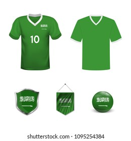 Set of T-shirts and flags of the national team of Saudi Arabia. Vector illustration.