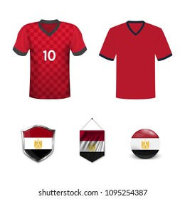 Set of T-shirts and flags of the national team of Egypt. Vector illustration.