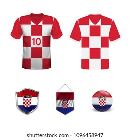 Set of T-shirts and flags of the national team of Croatia. Vector illustration.