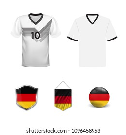 Set of T-shirts and flags of the national team of Germany. Vector illustration.