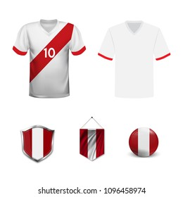 Set of T-shirts and flags of the national team of Peru. Vector illustration.
