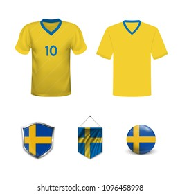 Set of T-shirts and flags of the national team of Sweden. Vector illustration.