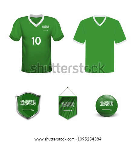 buy popular afcdb f766a Set Tshirts Flags National Team Saudi Stock Vector (Royalty ...