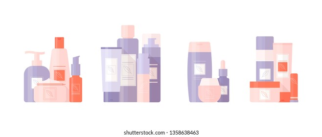 Set of tubes cosmetics. Tools for beauty and skin care. Vector, illustration isolated on white background