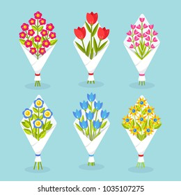 Set of tulip, roses flowers bunch isolated on background. Wedding, bridal, birthday  bouquet. Flower arrangement. Gift, present for woman day. Blooming plant. Spring holiday. Vector flat illustration
