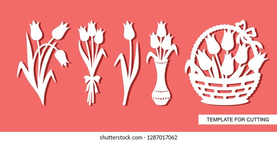Set of tulip silhouettes. A bouquet of flowers in a vase and a basket with buds. Template for laser cut, wood carving, paper cutting and printing. Vector illustration.