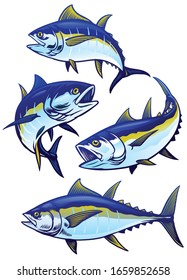 set of tuna fish in colors version