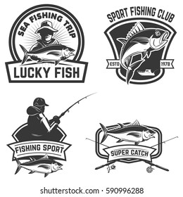 Set of the tuna fishing labels. Design elements for logo, emblem, sign. Vector illustration.