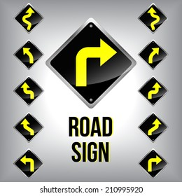 Set of turn traffic road sign grouped. Vector graphic