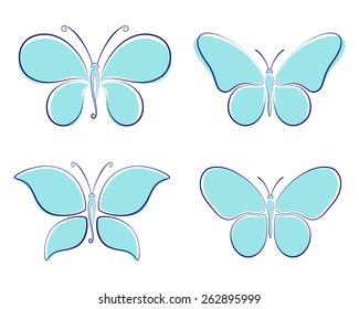 set turquoise butterflies