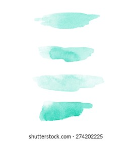 Set of turquoise cosmetic watercolor brush strokes isolated on white. Make up colors. Vector