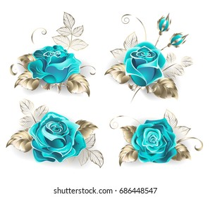 Set of turquoise roses, with leaves of white gold on white background.