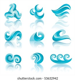 Set of Turquoise Waters Icons with reflection