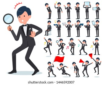 A set of tuxedo man with digital equipment such as smartphones.There are actions that express emotions.It's vector art so it's easy to edit.