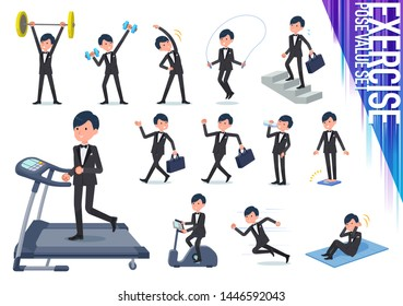 A set of tuxedo man on exercise and sports.There are various actions to move the body healthy.It's vector art so it's easy to edit.