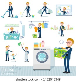A set of tuxedo man related to housekeeping such as cleaning and laundry.There are various actions such as child rearing.It's vector art so it's easy to edit.